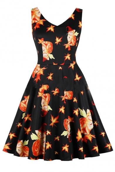 Baycheer / V Neck Leaf Cat Printed Sleeveless Midi Flare Dress