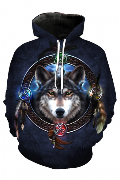 Sleeve Long Wolf Feather Printed Circle Hoodie FPTwSxqwU
