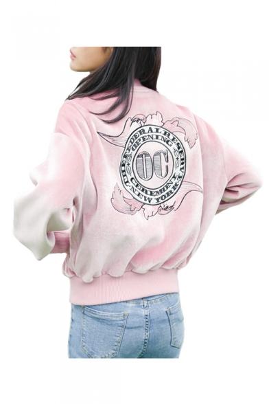 Sleeve Velvet Up Chic Long Baseball Graphic Zip Stand Jacket Collar Up Embroidered Letter fwRf0v
