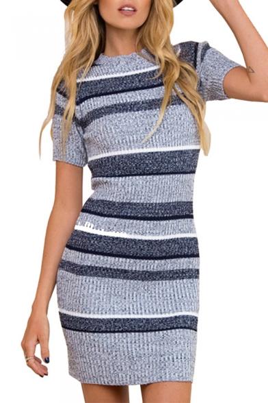 Contrast Striped Pattern Round Neck Short Sleeve Mini Bodycon Knit Dress