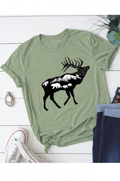 Deer Landscape Printed Round Shirt Short T Neck Sleeve POrPqHw4