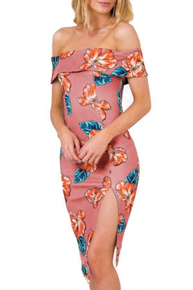 Floral Printed Off The Shoulder Short Sleeve Split Side Midi Pencil Dress