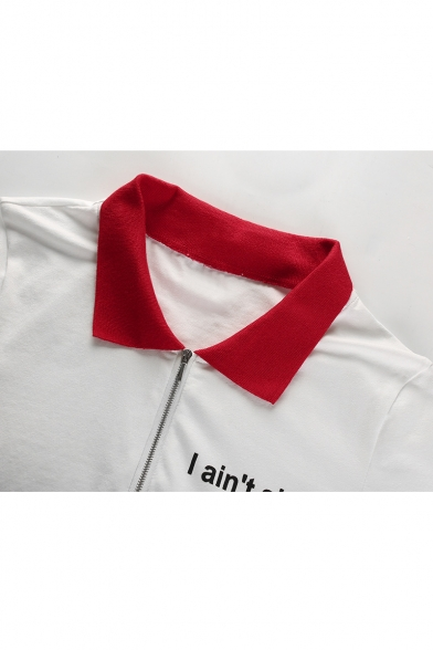 AIN'T I Letter SHIT Contrast Collar Skinny Crop Tee Lapel Sleeve Printed Short g6qRA