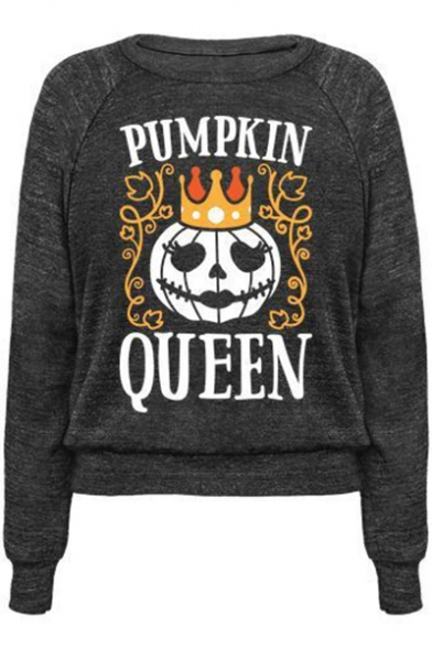 PUMPKIN Letter Crown Printed Round Neck Long Sleeve Sweatshirt