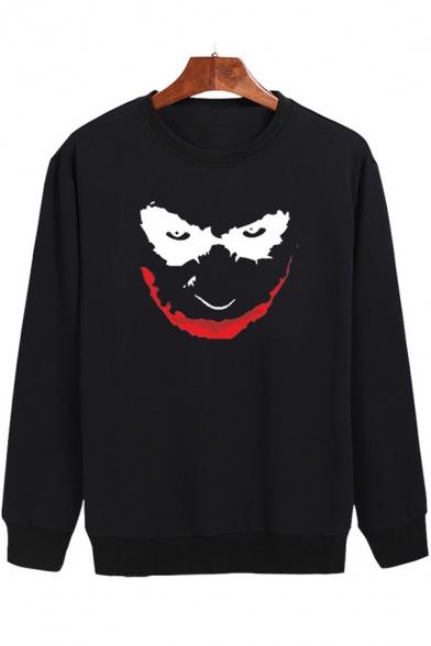Smile Face Printed Long Sleeve Round Neck Sweatshirt