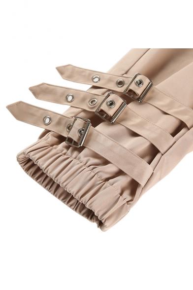 Strap Embellished High Waist Plain Buckle Cinch Tabs Cuffs Leisure Cargo Pants