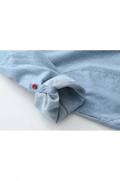 Cat Polka Dot Printed Lapel Collar Long Sleeve Button Front Midi Shirt Dress