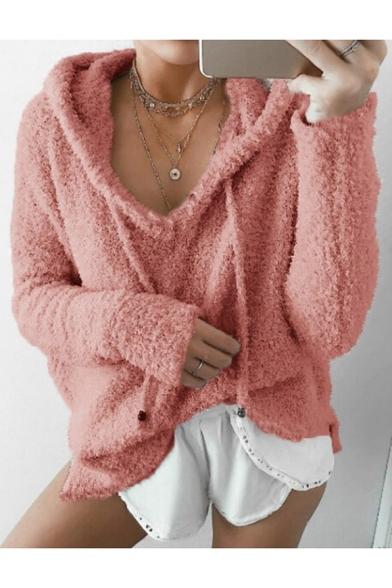 Chic Plain Long Sleeve Mohair Faux Fur Hoodie