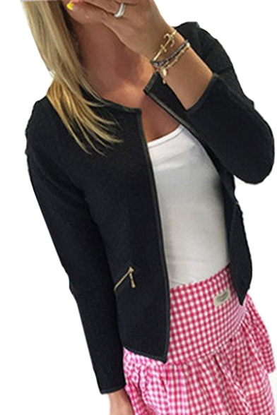 Collarless Open Front Plain Long Sleeve Jacket with Zip Pockets
