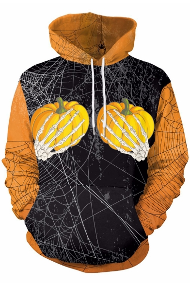 Color Block Pumpkin Printed Long Sleeve Casual Hoodie