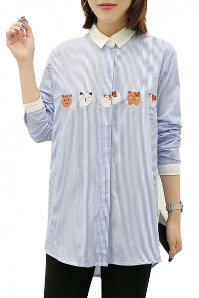 Striped Contrast Printed Cat Cartoon Embroidered Front Long Shirt Button Sleeve Trim p4WqUR6nWa