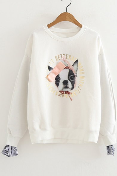 Dog Letter Printed Pearl Embellished Fake Two Pieces Round Neck Long Sleeve Sweatshirt, Pink;white;navy, LC480305