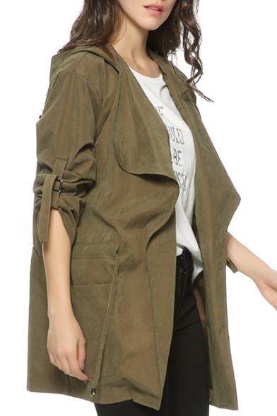 Fashion Plain Long Sleeve Drawstring Waist Hooded Trench Coat