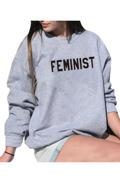 Long Sleeve Round Printed Letter Sweatshirt FEMINIST Pullover Neck 8xqCUIwz