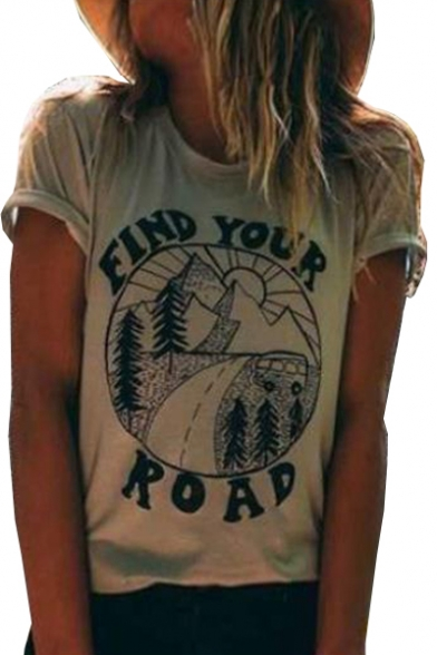 Short ROAD Printed FIND Graphic Letter Neck YOUR Tee Sleeve Round PF7q6Y