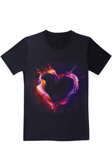 Fire Heart Printed Round Neck Short Sleeve T-Shirt LC481592 фото