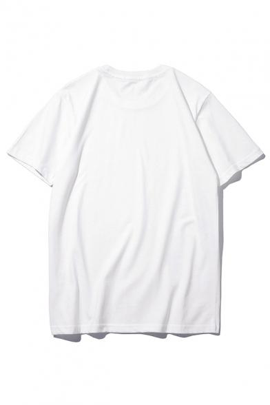 Food Round Short Sleeve T Printed Neck Letter Shirt vwIBrw