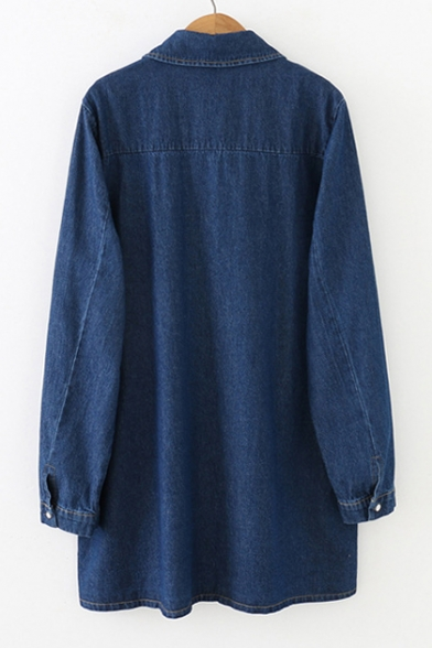 Letter Shirt Denim Collar Button Long Down Lapel Sleeve Tunic Printed wSXqxzFxn