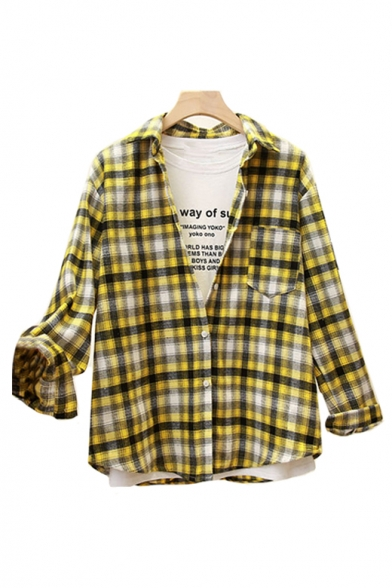 Printed Sleeve Shirt Leisure Long Front Button Plaid Collar Lapel nOaRWw