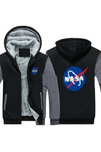 Printed Zip Hooded Letter Up Sleeve Jacket NASA Graphic Long Leisure 8EwCTYx