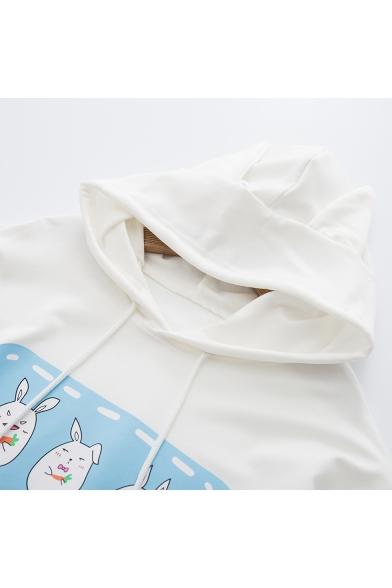 Hoodie Embellished Printed Drawstring Pattern Carrot Sleeve Long Rabbit ZHaFxwF