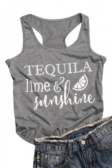 TEQUILA Neck Tank Letter Sleeveless Round Printed Fruit 6nq6xrw70