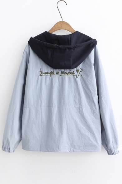 Zip Front Long Sleeve Letter Embroidered Back Contrast Hood Leisure Hooded Jacket