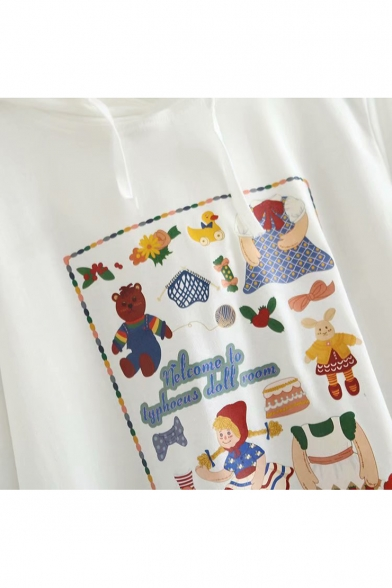 Sleeve Printed Hooded Letter Animal Cartoon Character Long Tee qXtRa