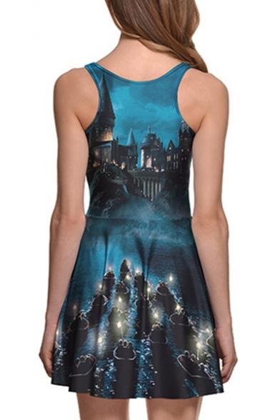 Castle Landscape Printed Round Neck Sleeveless Mini A-Line Dress