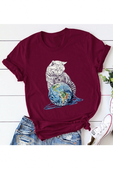 of T Short Round Cat Printed Neck Sleeve Ball Shirt Yarn 8qgvYw