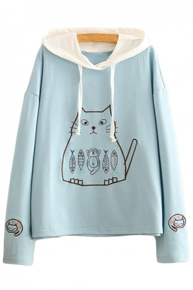 Cat Contrast Leisure Fish Hoodie Embroidered Hood Sleeve Long SqWHZSrwg
