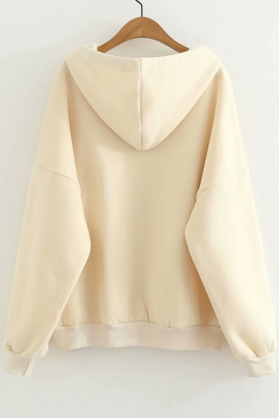 Embroidered Long Hoodie Leisure Crane Chic Sleeve 5UOqARw