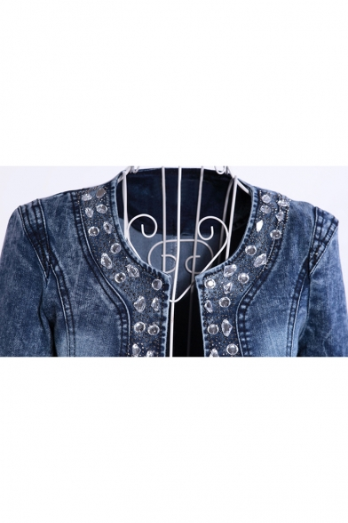 Collarless Diamante Long Sleeve Open Front Crop Denim Jacket