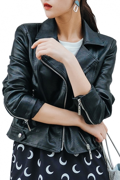 Cool Notched Lapel Collar Long Sleeve Plain Crop PU Jacket