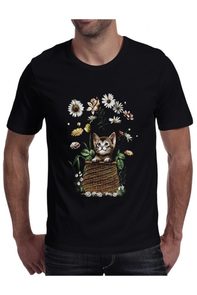 Short Sleeve T Shirt Cat Printed Floral Neck Round Leisure xBAHvqgw
