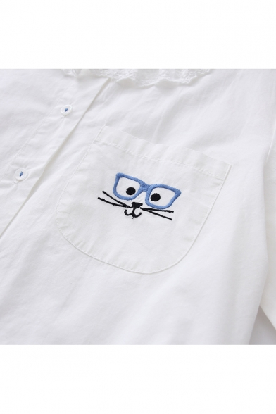 Glasses Animal Embroidered Doll Collar Long Sleeve Button Front Blouse