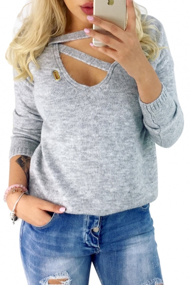 Out Long Sleeve Ribbed Neck V Plain Sweater Front Hollow 16xaTdT