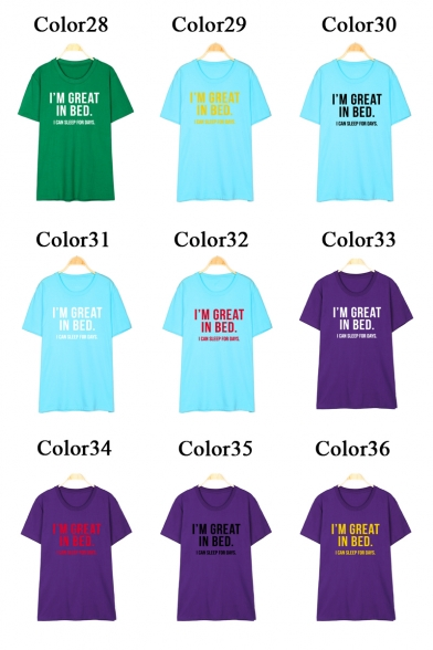 I'M Shirt Neck Sleeve GREAT Printed T Round Letter Short ZzPgqcrZw