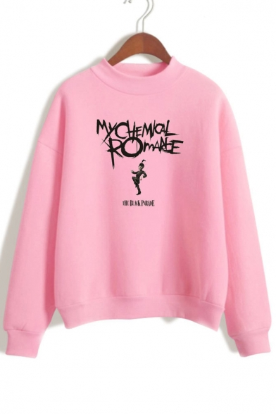 Letter Neck Printed Character Sleeve Mock Sweatshirt Long A8q5Opp