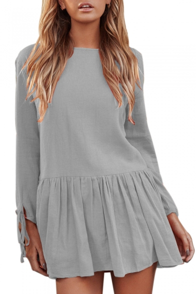 Plain Round Neck Long Sleeve Pleated Hem Mini A-Line Dress