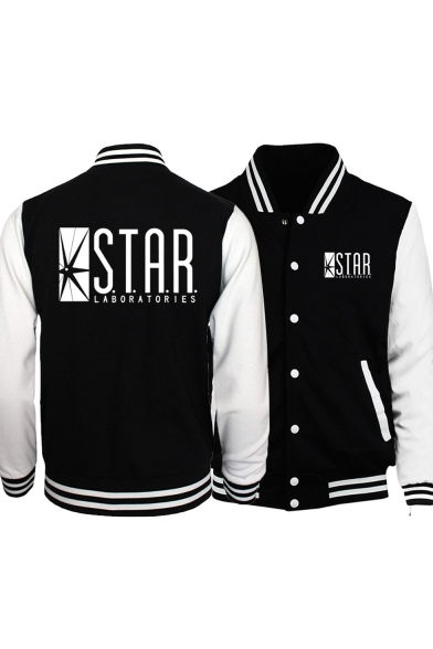 STAR Letter Graphic Printed Contrast Striped Trim Color Block Long Sleeve Button Down Baseball Jacket