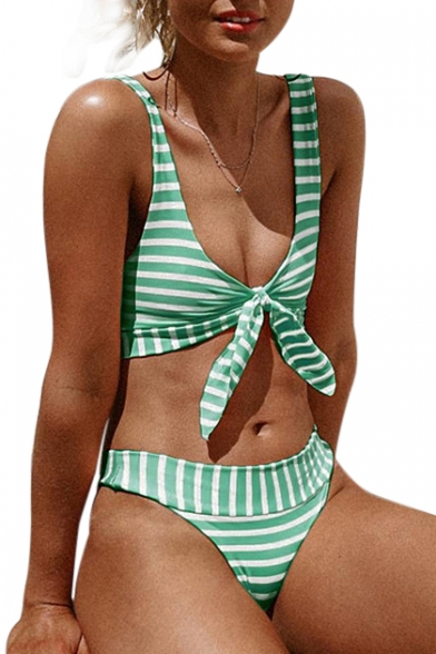 Striped Printed Sleeveless Knotted Front Beach Bikini