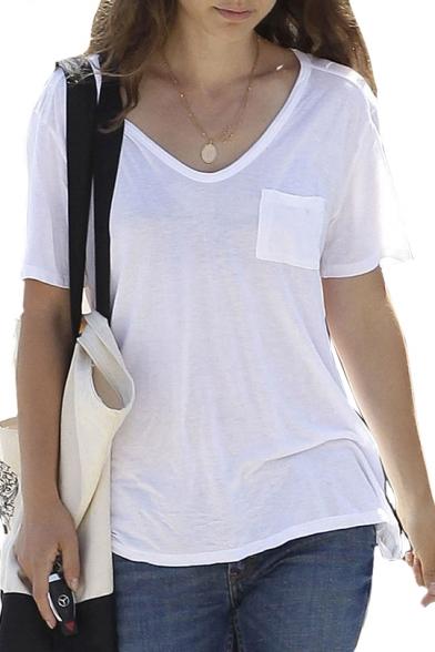 V Neck Short Sleeve Plain Loose T Shirt With Chest Pocket