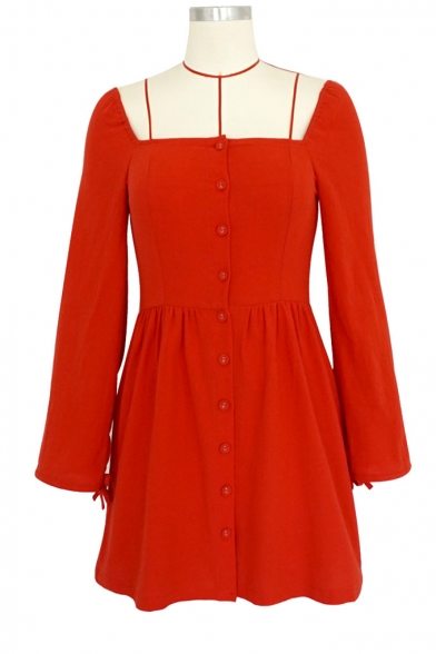 Vintage Square Neck Long Sleeve Button Front Plain Mini A-Line Dress