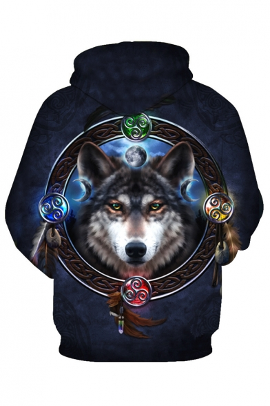 Sleeve Printed Hoodie Wolf Circle Feather Long qwqZIY