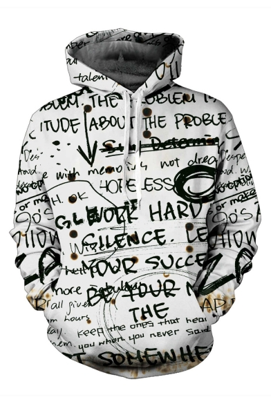 3D Graffiti Letter Printed Long Sleeve Loose Hoodie