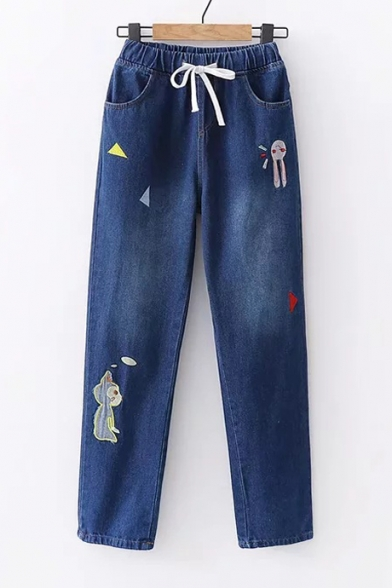 Image of Animal Triangle Embroidered Drawstring Waist Straight Jeans