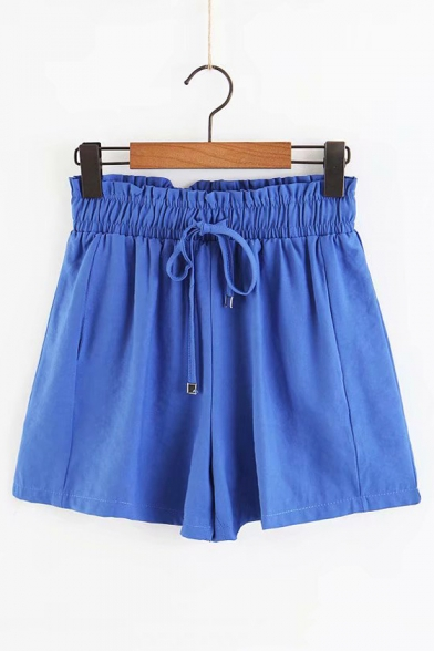 Basic Plain Drawstring Waist Loose Culottes