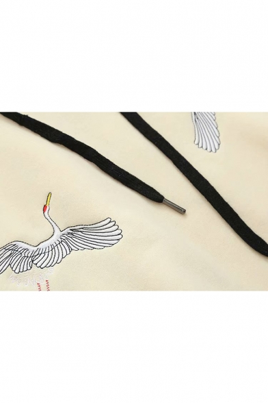 Hoodie Chic Long Sleeve Crane Embroidered Leisure wOH4fq1