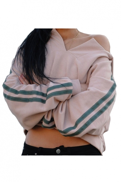 Chic Split Placket Contrast Striped Long Sleeve Crop Hoodie